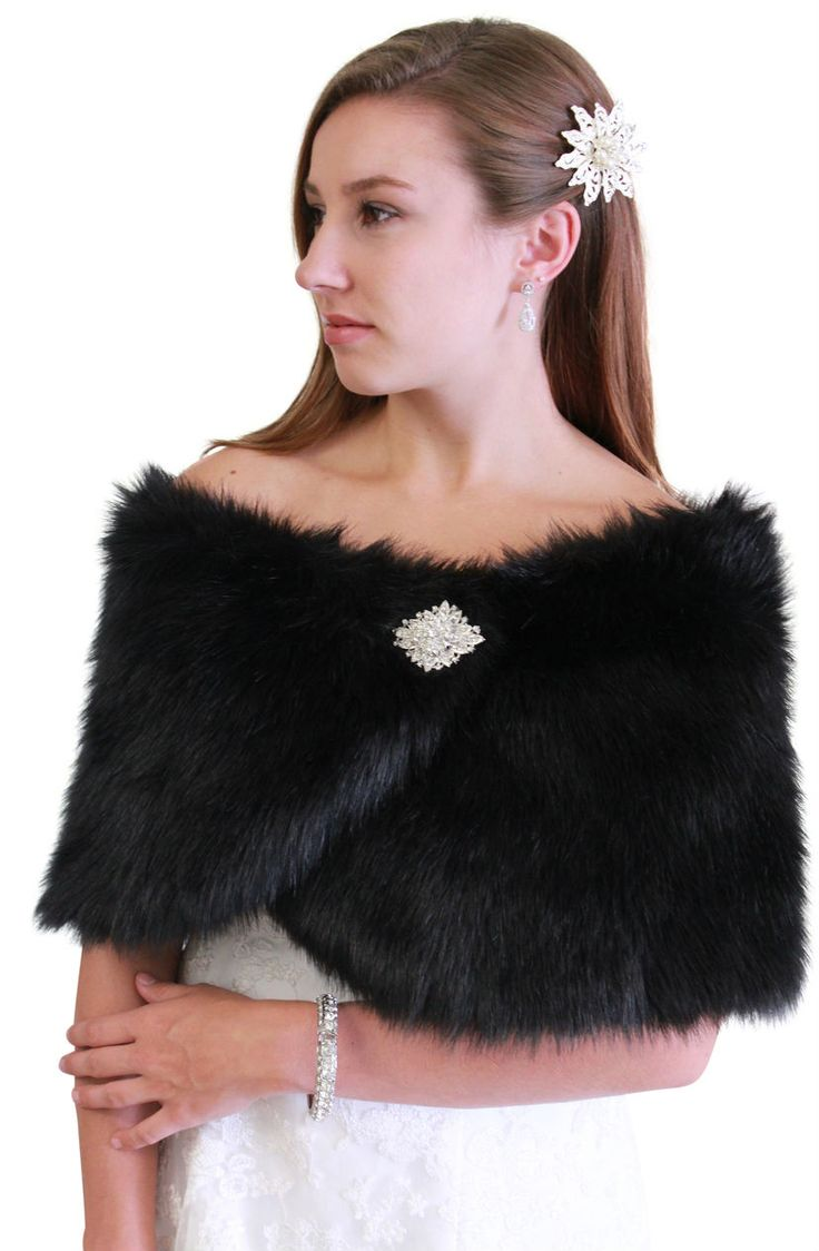 Black Faux Fur Wrap Is Ideal For Brides Bridesmaids Weddings Bridal And Formal