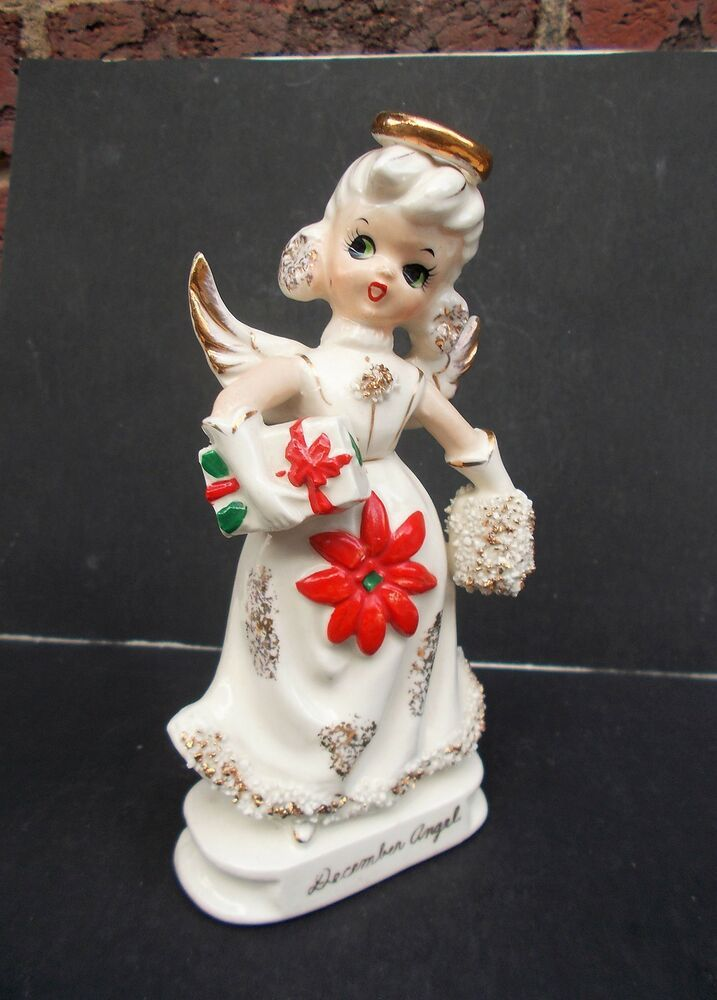 Vtg Knobler DECEMBER Angel W Foil Label Spaghetti Trim Japan 6 T Birthday Affilink