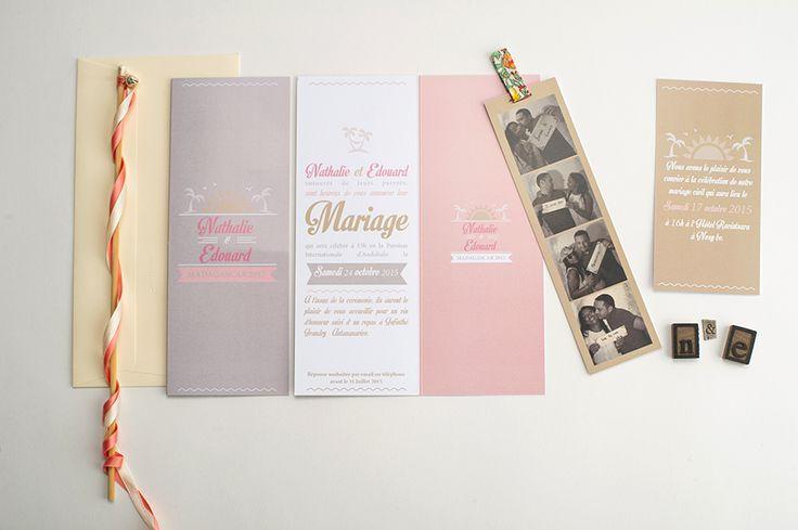 Faire-part de mariage Photomatton et invitation www.le-studio-de-julie.com