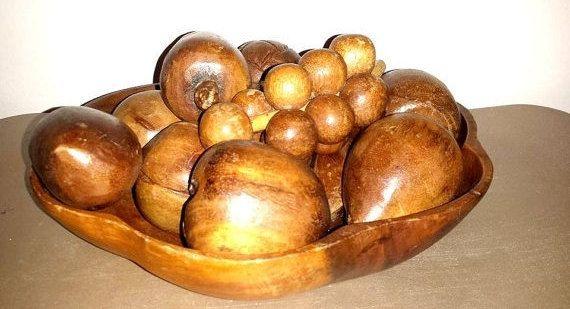 Monkey Pod Wood Bowl and Fruit,Wooden Fruit Bowl,Monkey Pod,MCM,Mid Century,Wood Fruit,Vintage Table Centerpiece,Wood Fruit,Monkey Pod Fruit by JunkYardBlonde on Etsy