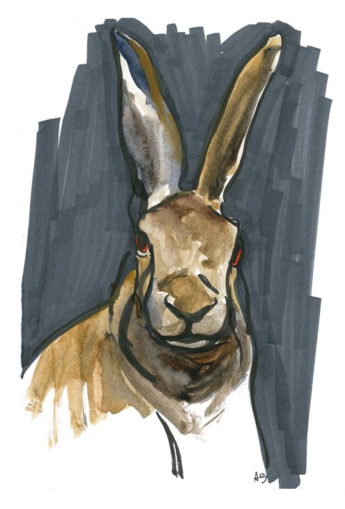 red-eyed rabbit - watercolor