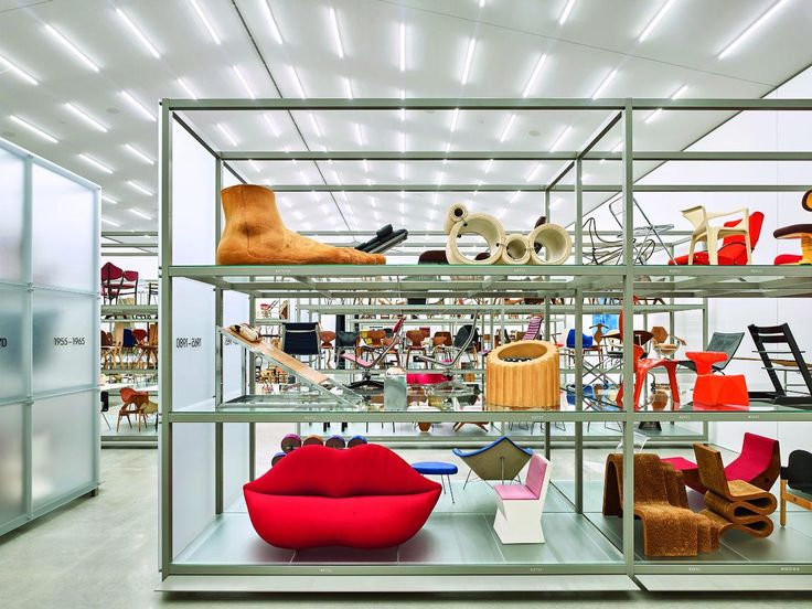 Vitra Schaudepot Exhibition. The shelf installation is designed by Dieter Thiel, who has collaborated with Vitra for many years and staged many of the Vitra Design Museum's previous exhibitions. #interdema #design #designproducts #VitraSchaudepot #schaudepot #VitraCampus #Vitra #дизайн #дизайнерскаямебель