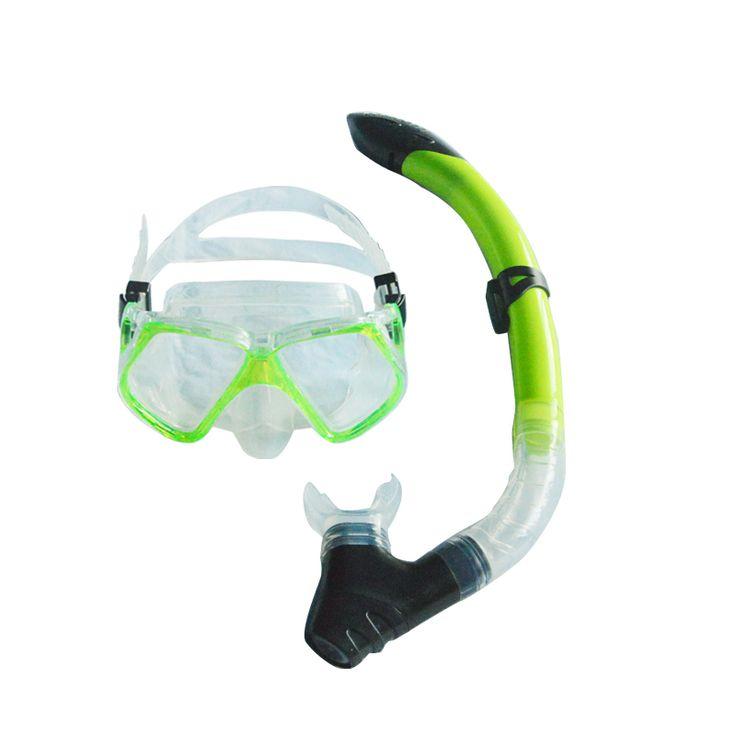 Желтый снаряжение для подводного плавания анфас плавательные очки маска и желтый трубка комплект MS-21620 ( а )