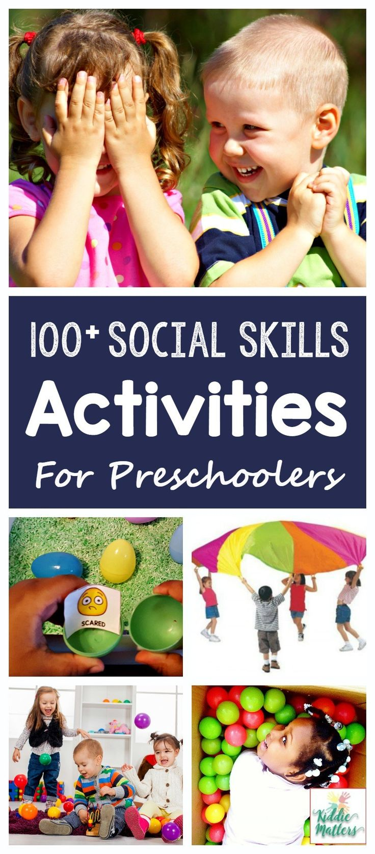 Over 100 social skills activities for preschoolers. These activities teach young children social skills such as how to make and keep friends, listen and follow directions, how to express big emotions, and using good manners.