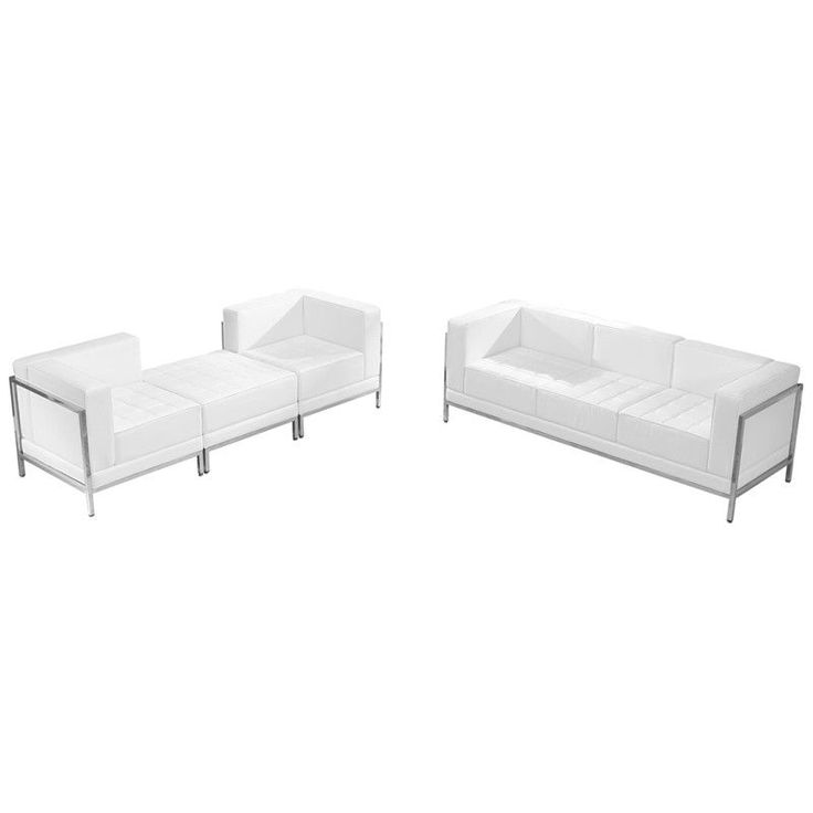 HERCULES Imagination Series White Leather Sofa U0026 Lounge Chair Set, 4 Pieces Part 63