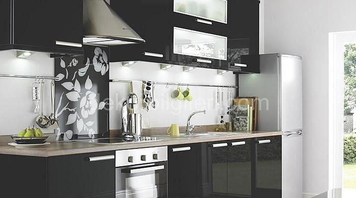 siyah mutfak dolapları ile mutfak dekorasyonu 2016