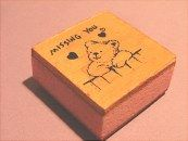 "1""  Missing You teddy bear rubber stamp"