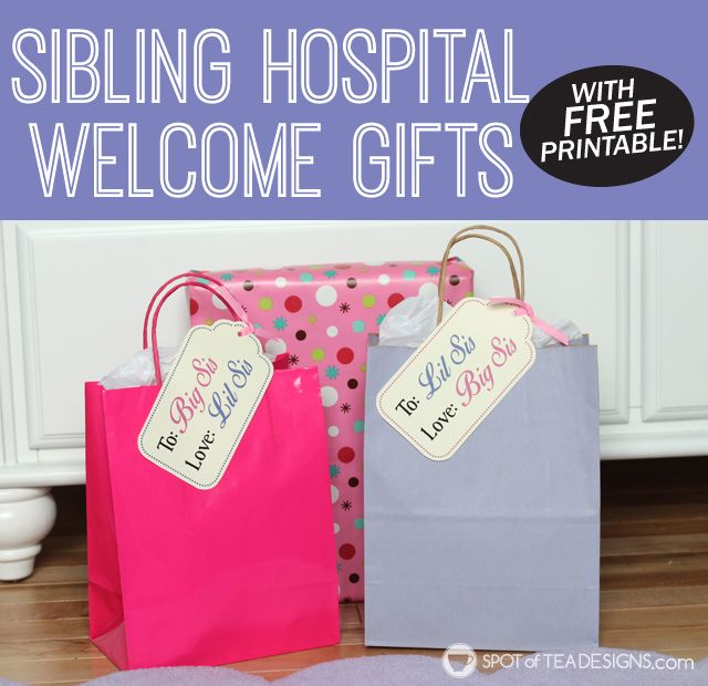 Sibling hospital welcome gifts for big sister and little sister to exchange when a new baby arrives. free printable gift tags available! | spotofteadesigns.com