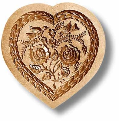 """Heart with Two Birds springerle cookie mold,  125x130mm / 4.9x5.1"""""""