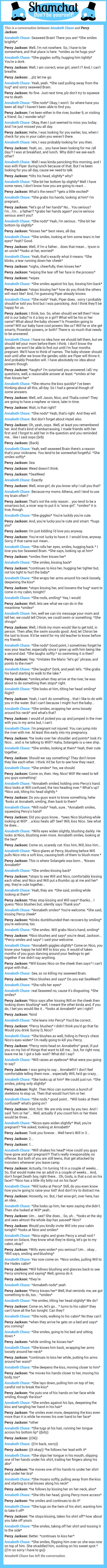 A conversation between Percy Jackson and Annabeth Chase