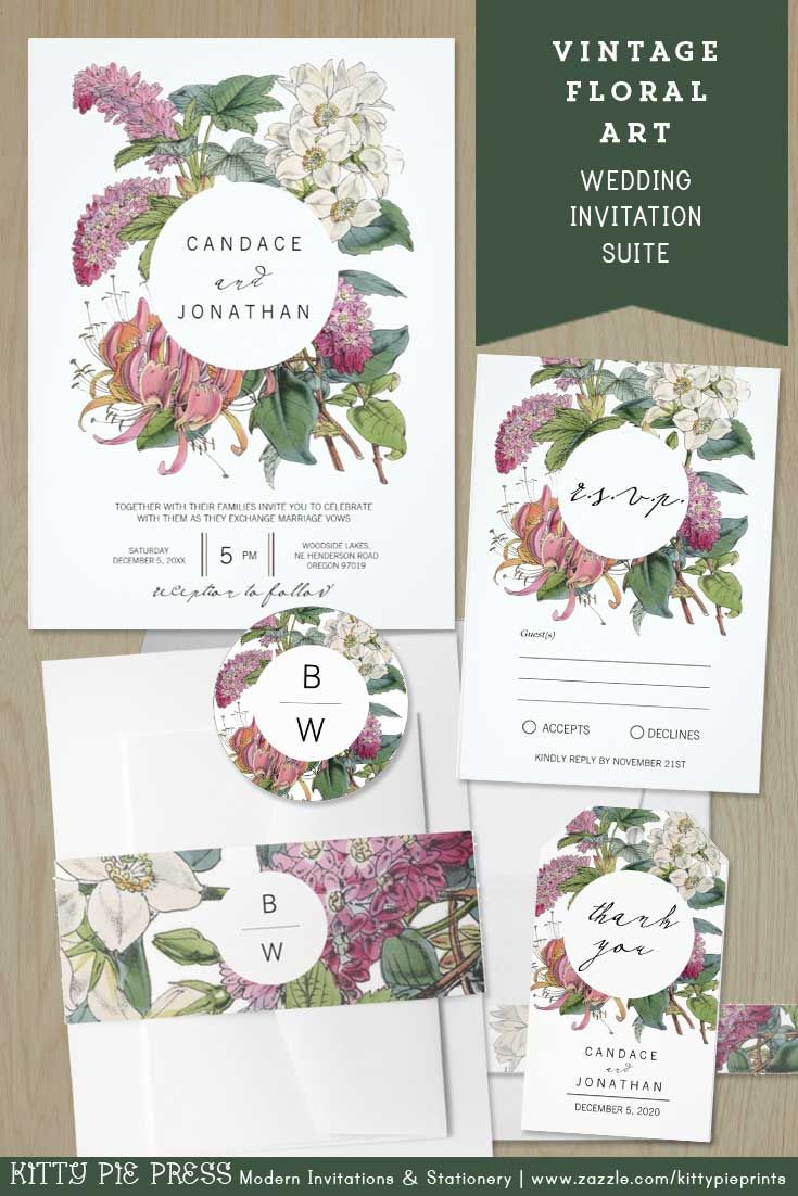 zazzle wedding invitations promo code%0A Vintage Floral Art Wedding Invite Suite This rustic wedding invitation set  features a vintage handdrawn illustration of a bouquet of spring flowers