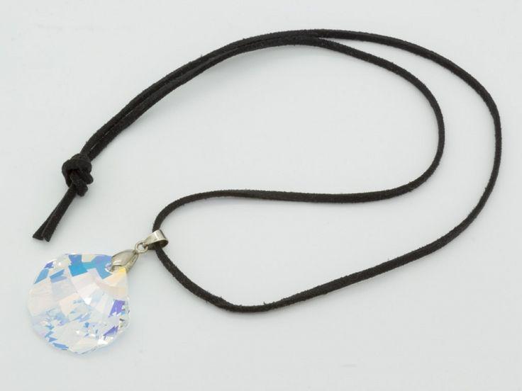 Swarovski kristályos nemesacél medál szövet nyakláncal