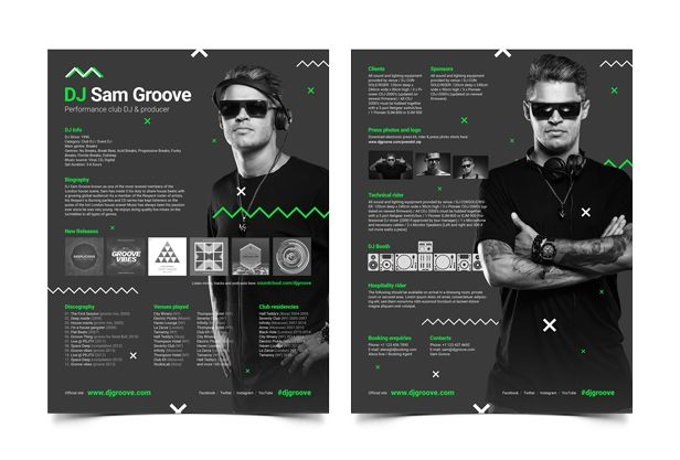 GrooveLine - DJ Mix / Album CD Cover Artwork PSD Template