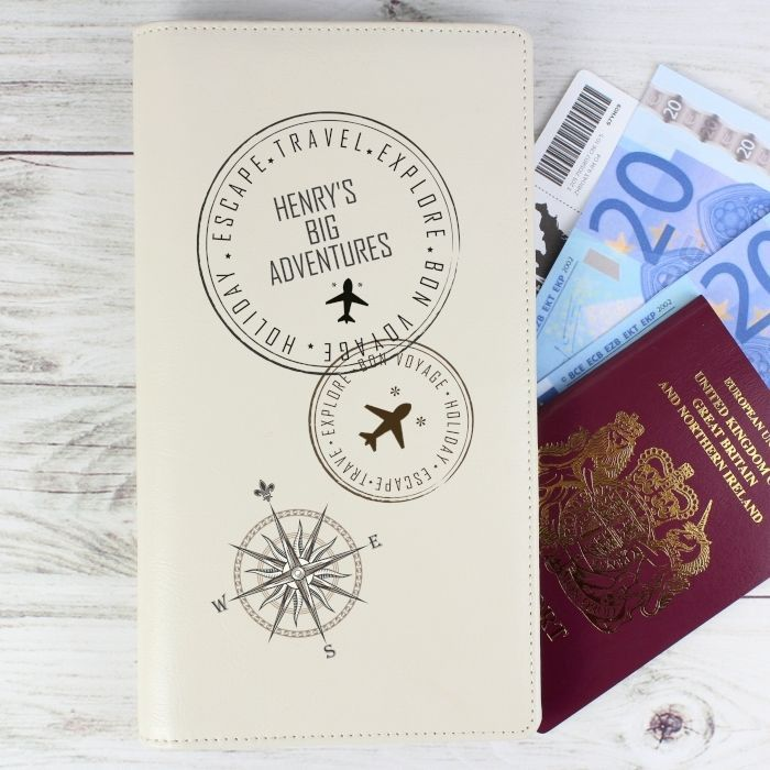 Personalised Stamped Cream Passport Documents Holder - Gift Ideas - Men Women