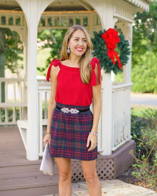 Holiday Christmas Outfit: Red bow top, plaid skirt - Today's Everyday Fashion: Happy Holidays! Christmas Outfit