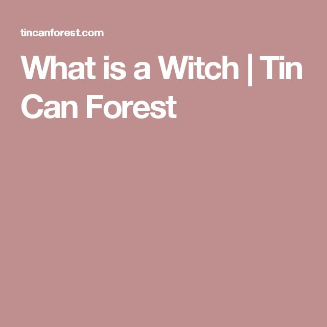 What is a Witch | Tin Can Forest