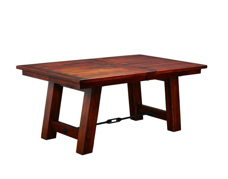 Indiana Ouray Double Trestle Plank Table is a mixture of rustic and industrial design.