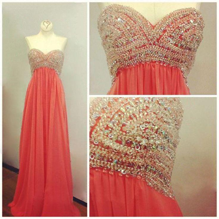 Coral Prom Dress, Sweet Heart Prom Dress, Beading Prom Dress, Charming Prom Dress, Sparkly Prom Dress, Evening Dress