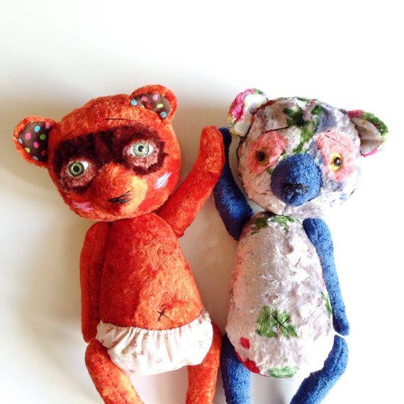 Teddy Bears ooak teddy bears two teddy by CreaturesPretenders