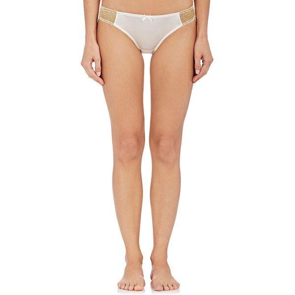 GILDA & PEARL Women's Gina Stretch-Silk Bikini Briefs ($85) ❤ liked on Polyvore featuring intimates, panties, white, white bikini bottoms, scalloped bikini bottoms, brief bikini bottoms, bow bikini bottom and swim bikini bottoms