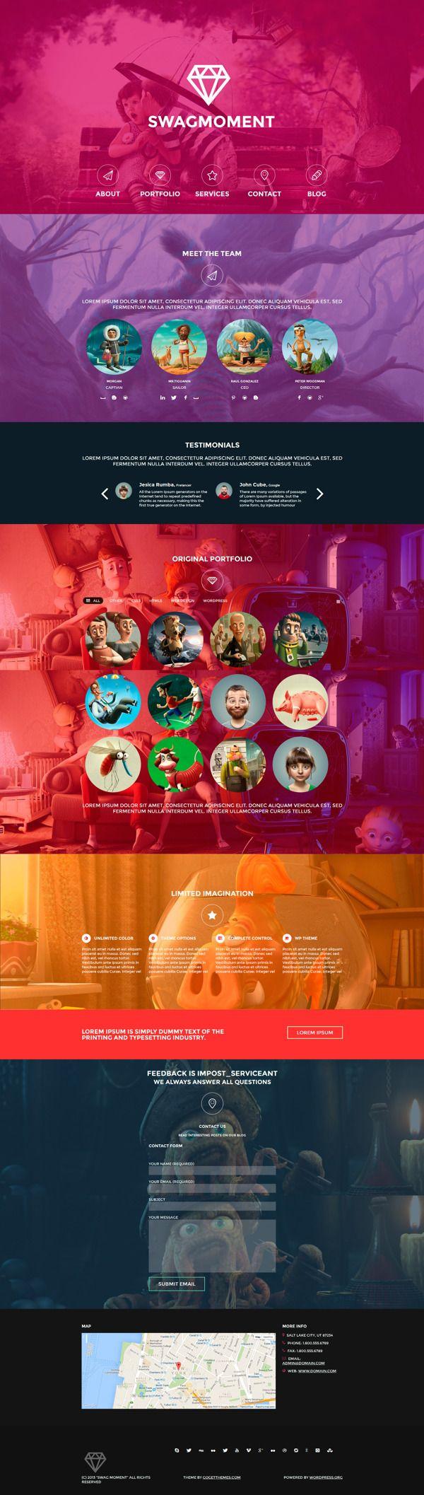 SwagMoment WordPress Theme by WordPress Awards, via Behance