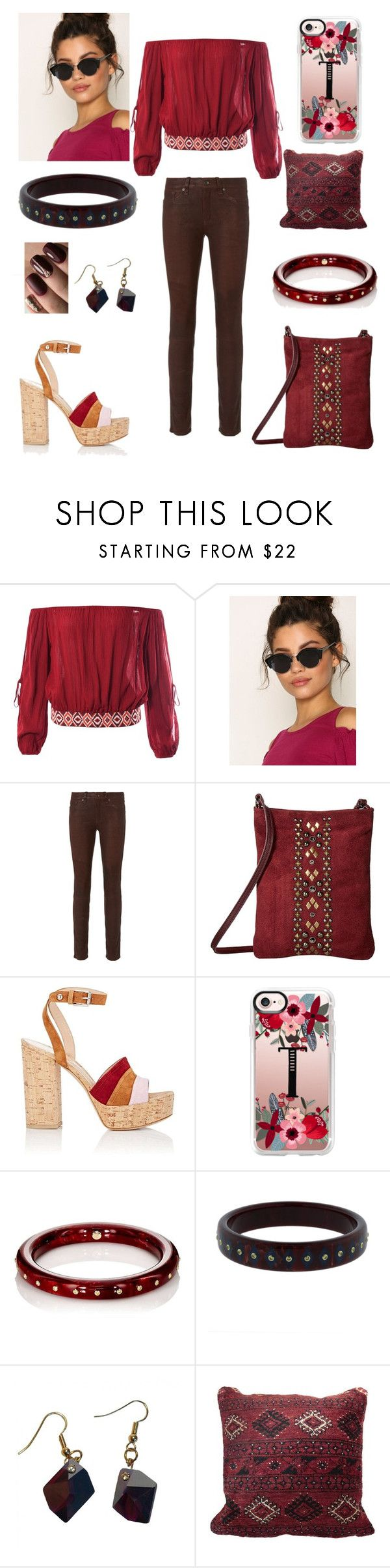 """""""Untitled #137"""" by tchantel ❤ liked on Polyvore featuring Sans Souci, Pieces, rag & bone, Leatherock, Gianvito Rossi, Casetify, Mark Davis and Marguerite de Valois"""