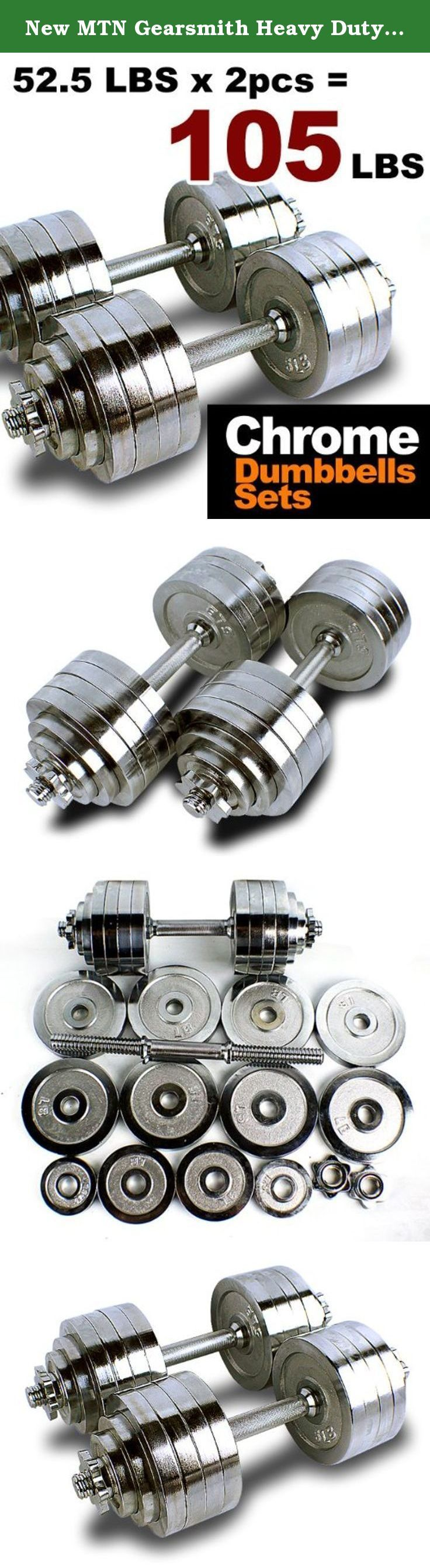 New MTN Gearsmith Heavy Duty Adjustable Cast Iron Chrome Weight Dumbbell Set Dumbbells 52.5 100 105 200 lbs (Silver-Chrome-Coated, 105 LB). This special sales is for various style and size of the adjustable dumbbell kit (52.5 lbs, 100 lbs , 105 lbs or 200 lbs). Not everyone who is interested in getting a better body through strength training has the necessary room in their home for a dozen or more sets of dumbbells. This adjustable and versatile dumbbell kit is small, convenient, and easy…