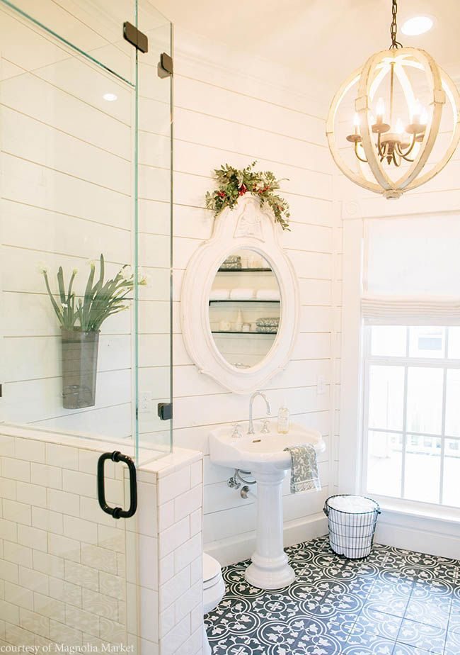 Photo Gallery In Website White shiplap plements an antique bathroom design