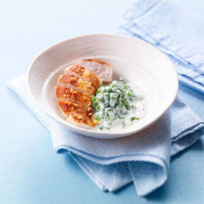 Emincé de poulet et risotto de haricots verts au fromage frais
