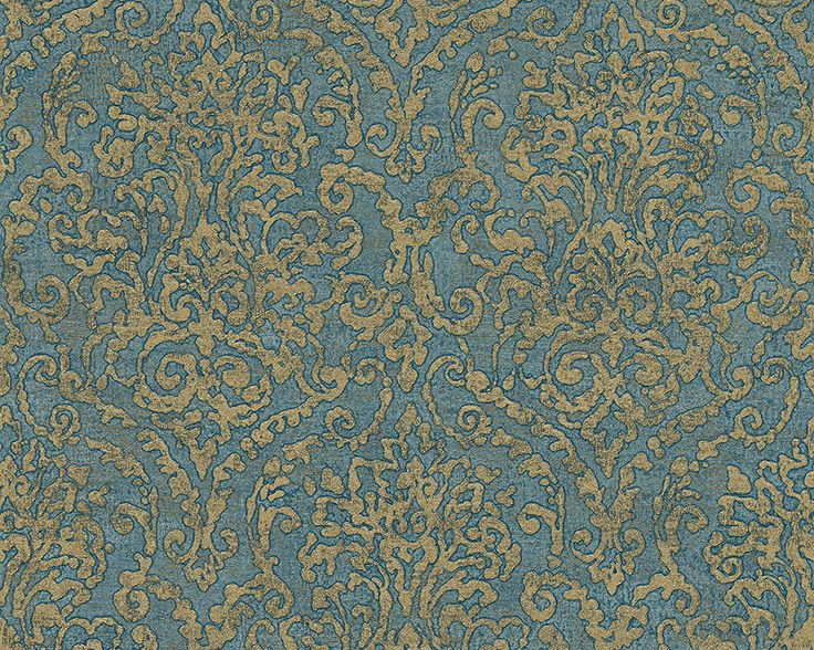 Baroque Scroll Wallpaper in Beige and Blue design by BD Wall