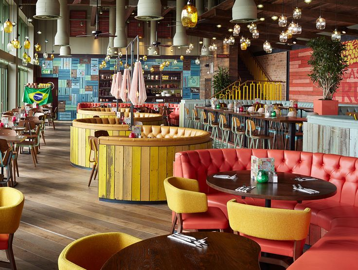 Don't let your design stop at your floors. Bring other textures into the mix, whether it's tile, carpet, or a more timber! Use pops of colours to brighten the space. Project: Las Iguanas Restaurant, UK using Havwoods Venture Plank range of products.