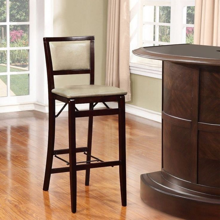 details about space saving folding bar height stool padded seat and back home furniture