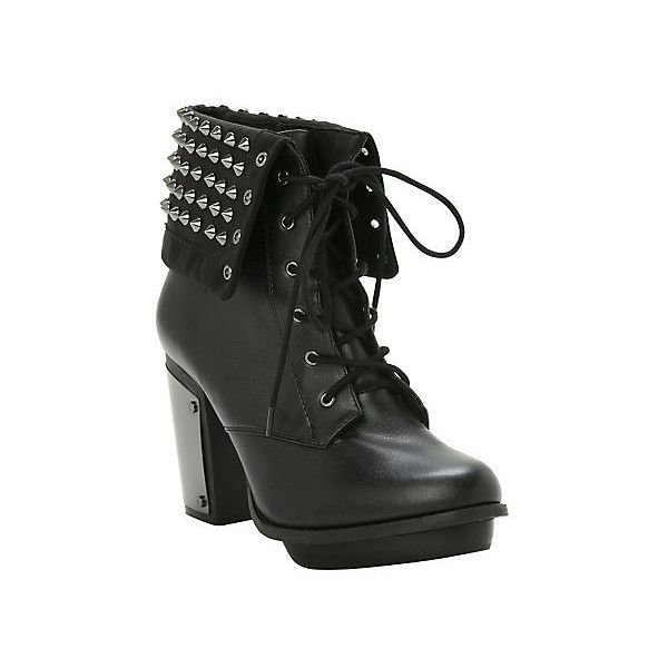 Studded Combat Boot Heel Hot Topic ($52) ❤ liked on Polyvore featuring shoes, boots, ankle booties, combat boots, platform booties, black platform boots, military boots and black army boots