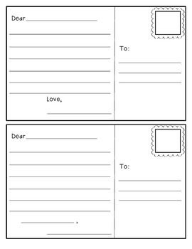 "This is an outline of a postcard to use with your students. Students can design their own front & stamp as well as practice their writing skills! My kiddos love being able to ""send"" letters to one another & to their family members using these."