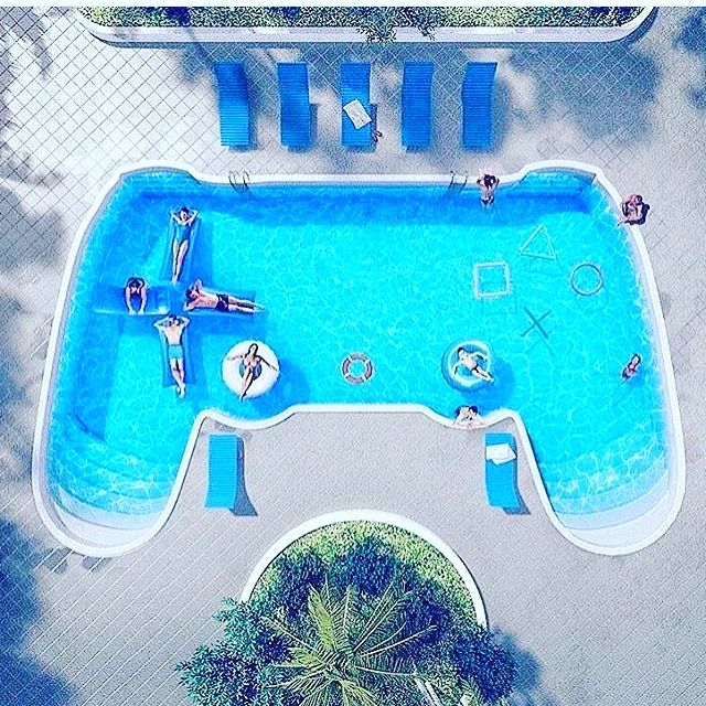 Remote controller video game swimming pool