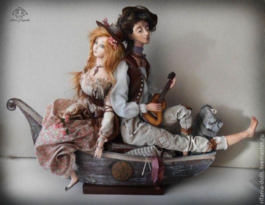 Коллекционные куклы ручной работы. Ярмарка Мастеров - ручная работа. Купить Бродячие музыканты. Handmade. Коричневый, лодочка, папье-маше
