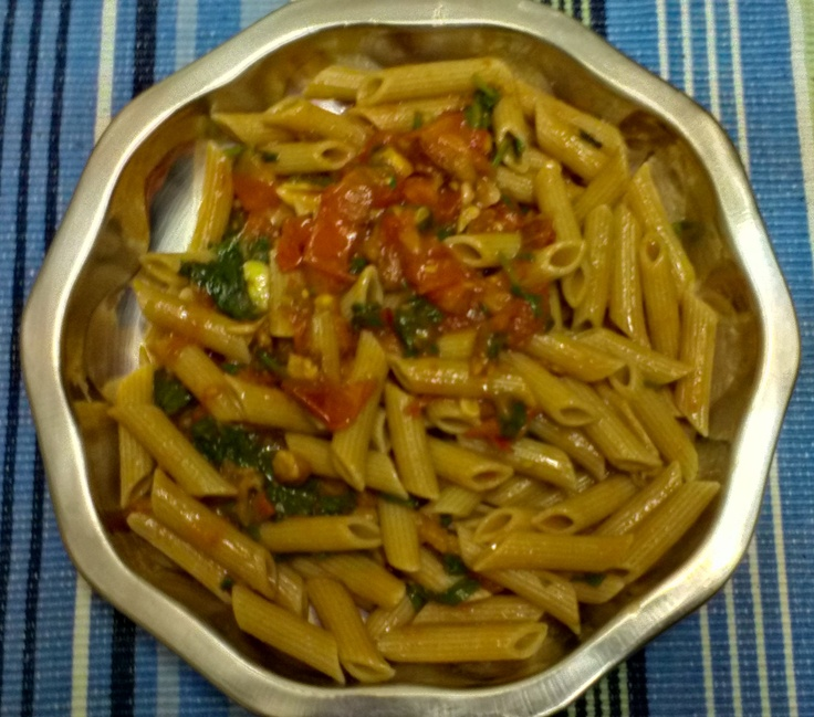 Penne with Spinach and Bacon