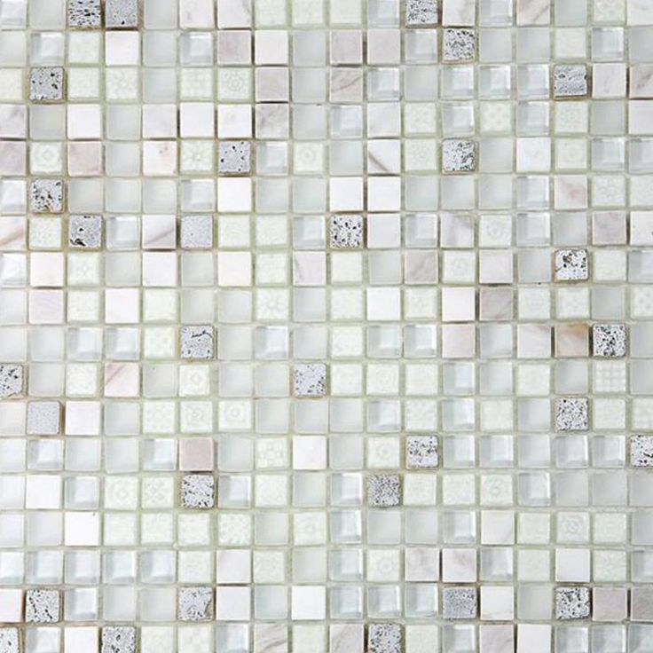 Shop 12 x 12 Alloy Deco Blizzard Polish, Frosted, & Painted Foil Stone and Glass Tile in White, Painted Silver Foil at TileBar.com.