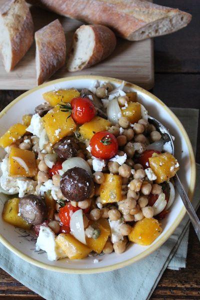 Kikkererwten salade met pompoen en feta
