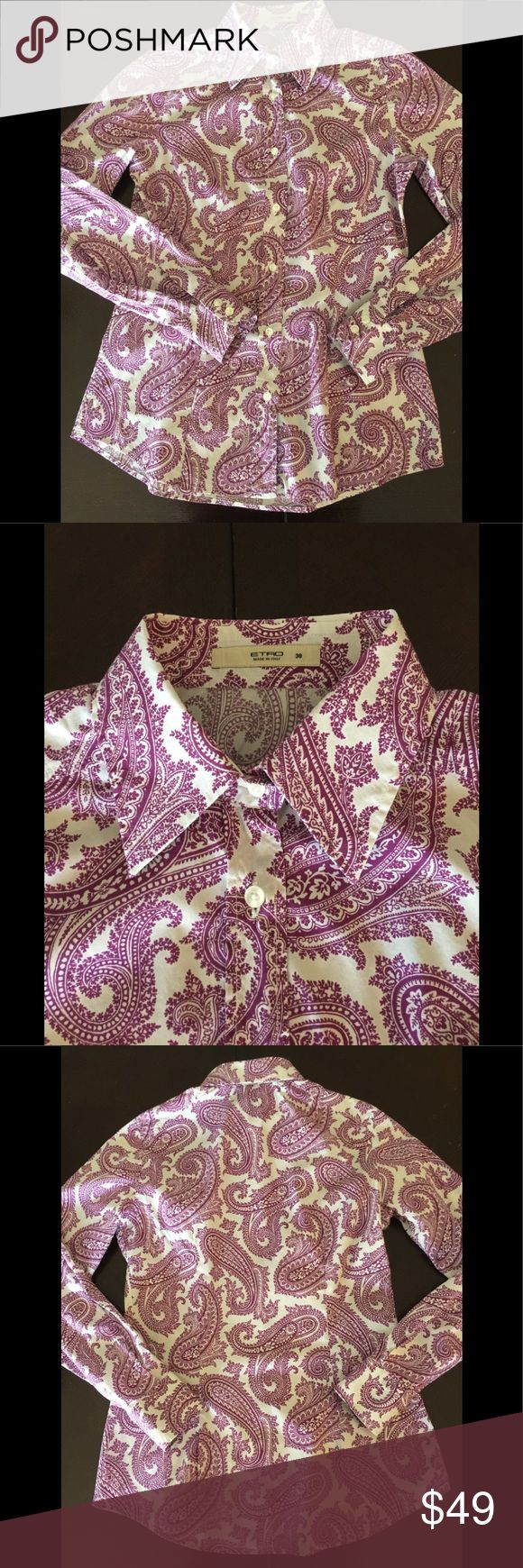 ETRO Italy lady's button down shirts size 38 Lady's paisley print button down shirts size 38 Like brand new Very good condition Etro Tops Button Down Shirts