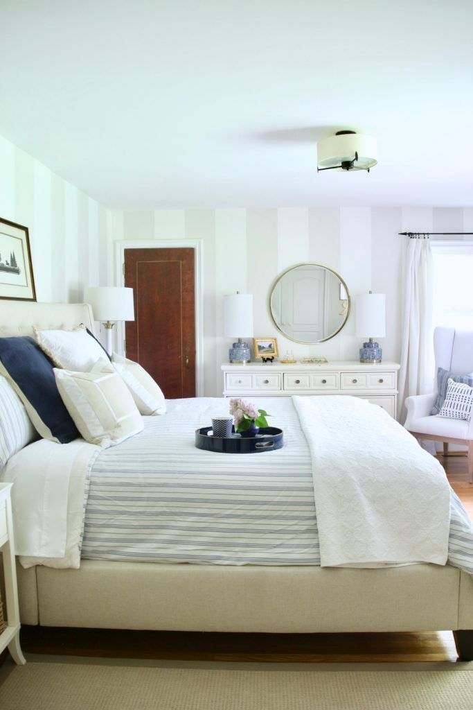 5 Tips For Updating And Creating A Serene Master Bedroom Using Navy Cream Whites And Gold Memehi Light Brown Bedrooms Bedroom Inspirations Master Bedroom