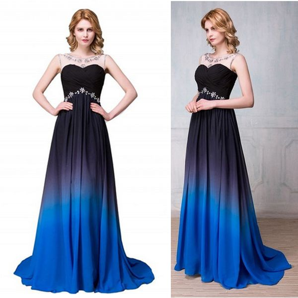 New Arrival Navy Blue Gradient Long Prom Dresses, Royal Blue Ombre Color Prom Dress, High Quality Evening Dresses,Prom Gowns,Bridesmaid Dress