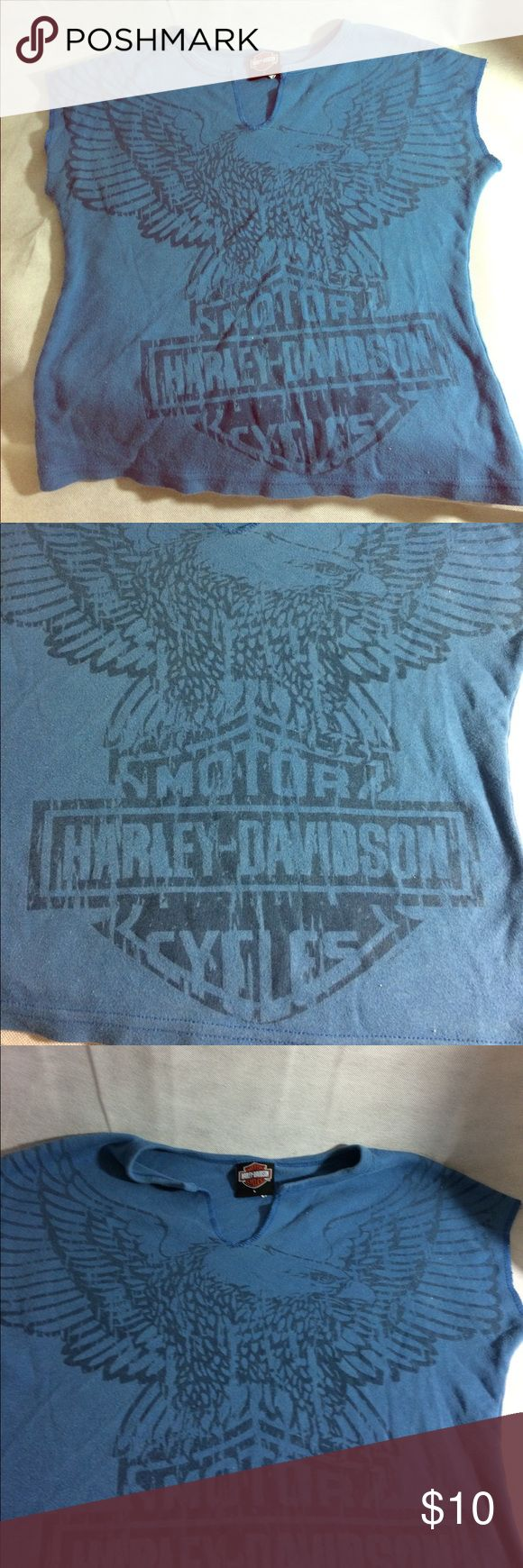 Blue Harley Davidson top This is the blue Harley Davidson top that has the eagle on the front with the Harley logo then on the back it's a San Diego Harley Davidson California. It is in great condition Harley-Davidson Tops Tees - Short Sleeve