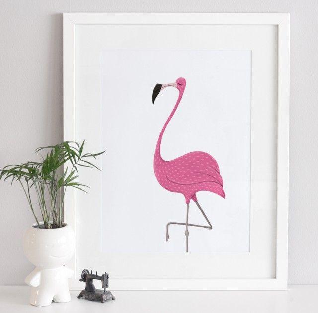 Flamingo - Art print by @annagrape #poster #flamingo