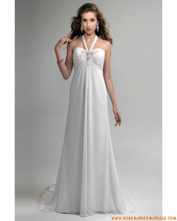 Bretelle au cou décolleté en coeur empire taille perlée applique mousseline de soie satin robe de mariée