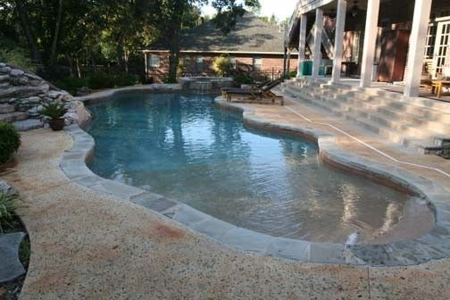 Portfolio page for atlantis pools tulsa oklahoma inground for Beach entry swimming pool designs