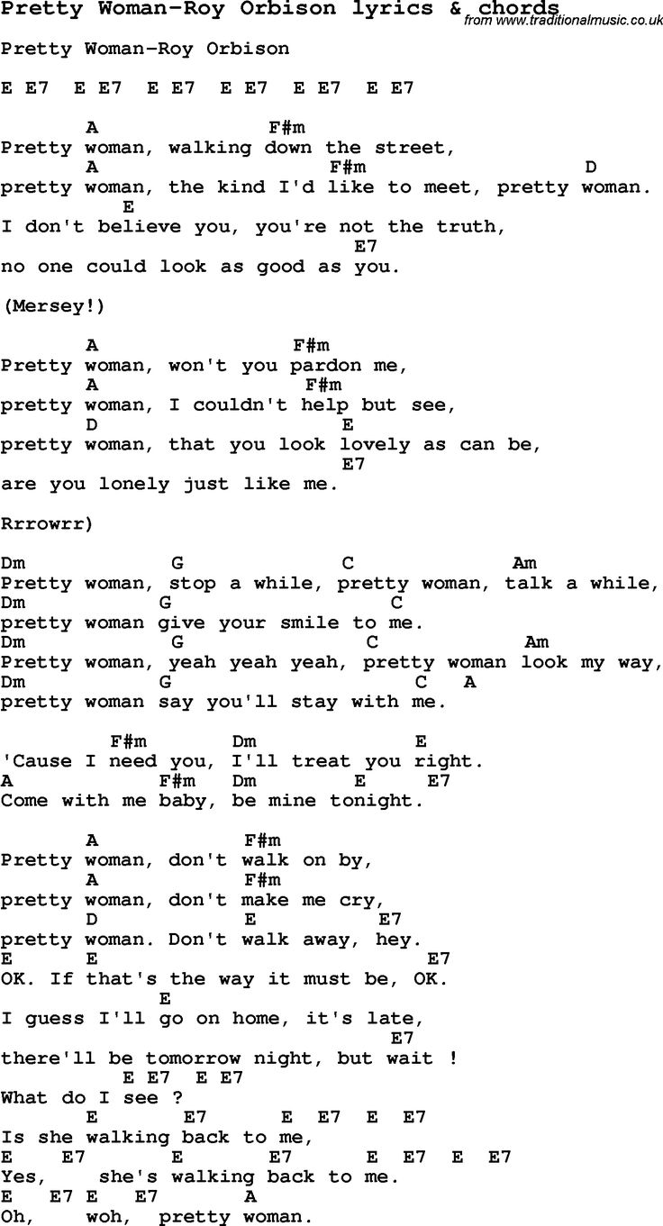 Love Song Lyrics for: Pretty Woman-Roy Orbison with chords ...