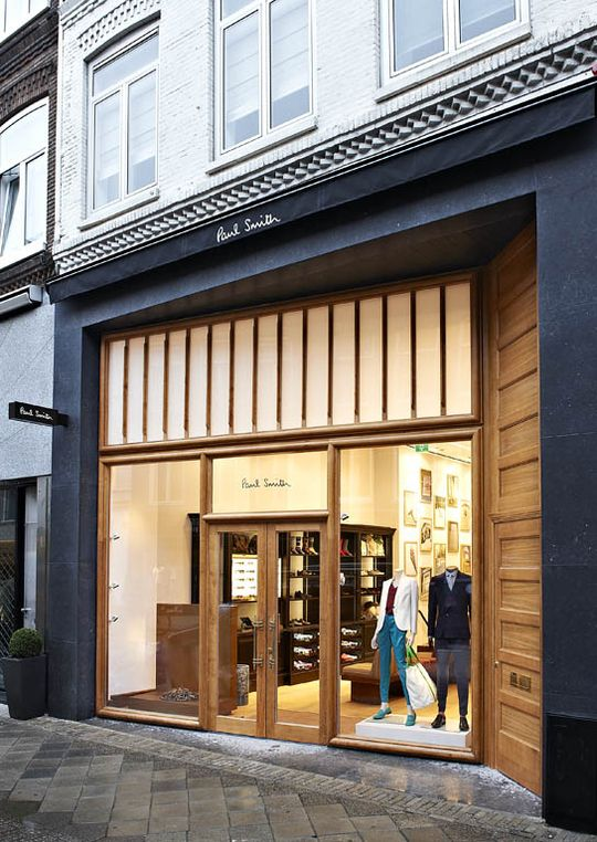 Paul Smith Amsterdam Shop Storefront Love this store front, simple, modern twist with angled entry/facade