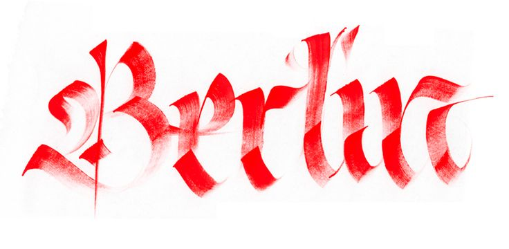 Calligraphi.ca Berlin, brush and red Tempera on paper.Giuseppe SalernoGiuseppesalerno08Jpg 500250, Calligraphy Giuseppe Salerno07, Berlin, Hands Drawn Types, Hands Letters, Graphics Design, Fine Art, Typography, Types Letteing