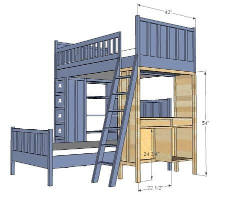 free plans bunk bed deskbunk - Free Loft Bed With Desk Plans